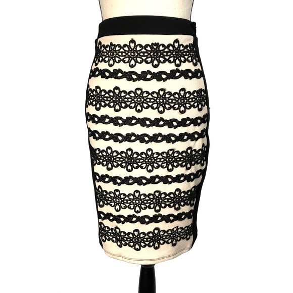 Nikibiki Dresses & Skirts - New!! Nikibiki Tan & Black Pencil Skirt with Lace